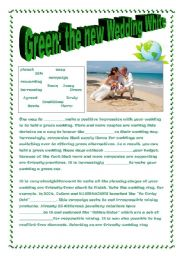 English Worksheet: ����  GREEN: THE NEW WEDDING WHITE!  article about green weddings �����