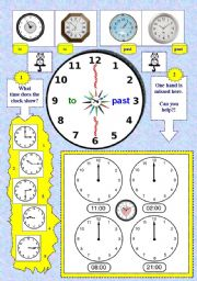 English worksheet: TELLING THE TIME EXERCISES.  Check, complete, write, read + POEM. 2 pages.
