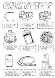 English Worksheet: food quantity PICTIONARY