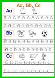 English Worksheets: Aa, Bb, Cc  writing. Part 1 (3 pages)