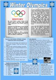English Worksheet: Winter Olympics 1/2