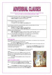 English worksheets: adverbial clauses worksheets
