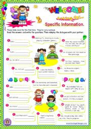 English Worksheet: Asking for specific information Series  (1)  (wh-questions) - dialogues for elementary students