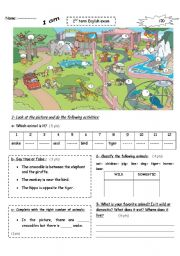 English Worksheets: At the zoo: test for beginners