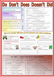 English Worksheets: Auxiliary Verb Do / don�t / Does / Doesn�t / Didn�t   (B/W - Keys included)