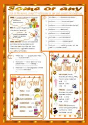English Worksheets: Some or Any(2 pages) + Key