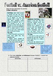 English Worksheet: Soccer versus American football