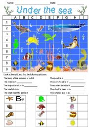English Worksheet: Under the sea - Grid 1
