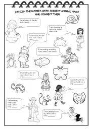 English Worksheet: ANIMAL RHYMES
