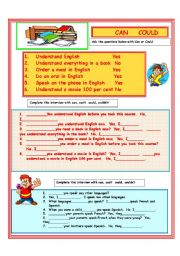 English Worksheet: CAN/COULD
