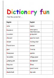 English worksheet: Dictionary fun