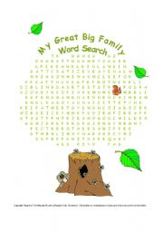English Worksheet: My Great Big Family - Word Search (+ Key)