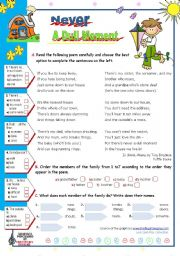 English Worksheets: Never a dull moment, a poem by Tony Bradman for elementary students