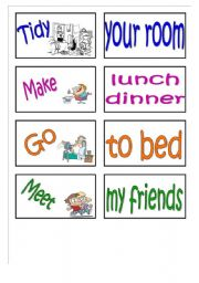 English Worksheet: Daily routines memory card game (set 2+instructions)