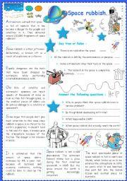 English Worksheet: Space rubbish..