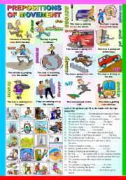PREPOSITIONS OF MOVEMENT - (B&W VERSION AND KEY INCLUDED)