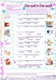 English Worksheets: How many or How much.( + Key)