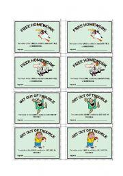 English Worksheets: REWARDS CARDS