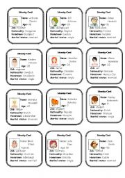 English Worksheets: Identity Cards - part 2