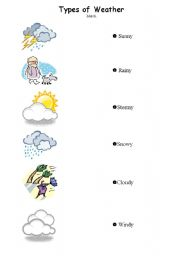 Vocabulary worksheets > The weather > Different Types of Weather