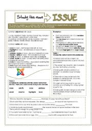 English Worksheets: The noun ISSUE