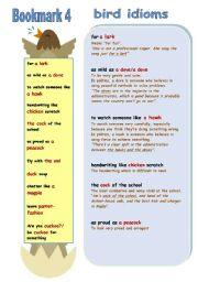 English Worksheets: BIRD IDIOMS Bookmark