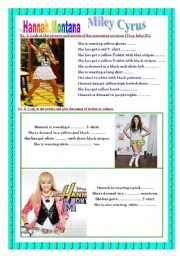 English Worksheet: Hannah Montana - clothes, colours, reading, colouring.