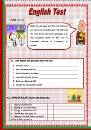 English Worksheet: Test - 5th Grade (3 Pages)
