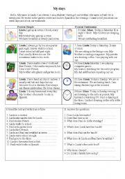 English Worksheets: My days