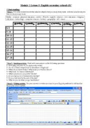 English Worksheets: english secondary schools 3