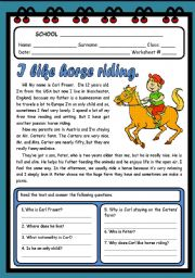 English Worksheet: I LIKE HORSE RIDING ( 2 PAGES )