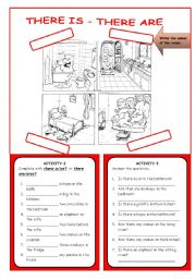 English Worksheets: THERE IS - THERE ARE  - B&W