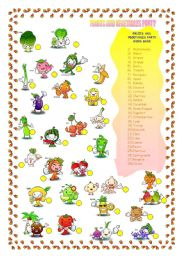 English Worksheet: FRUITS AND VEGETABLES PARTY