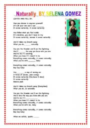 English Worksheets: song Naturally by Selena Gomez