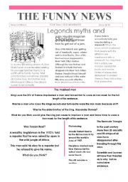 English Worksheet: Funny News Issue #4 conversation and writing topics, newspaper, template