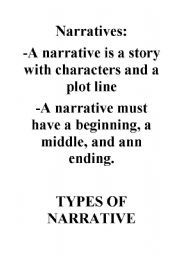 English Worksheets: Narratives brief introduction
