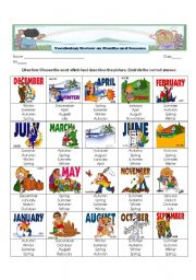 English Worksheet: Vocabulary Review on Months and Seasons of the Year
