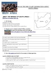 English Worksheet: Webquest South Africa (geography/flag/history)