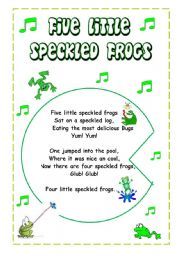 5 speckled frogs song lyrics
