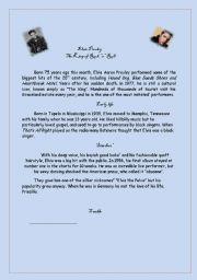 English worksheet: Elvis Presley worksheet