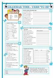 English Worksheet: GRAMMAR TIME - VERB TO BE (plus bw version and key)