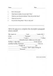 lesson plan on writing a descriptive essay