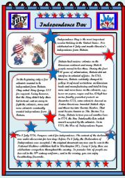 English Worksheet: Independence Day 4 July  READING  COMPREHENSION 2PAGES