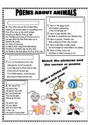 English Worksheet: POEMS ABOUT ANIMALS