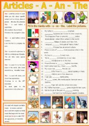 English Worksheet: Articles - a/an/the  (include B/W and keys)