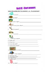 English worksheet: Verb Be - Short answers