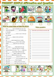 English Worksheet: Present Simple  -  Affirmative and Question  (B/W & Keys) included