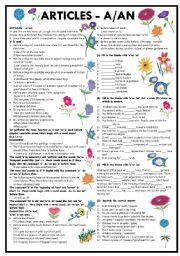 English Worksheet: INDEFINITE ARTICLES