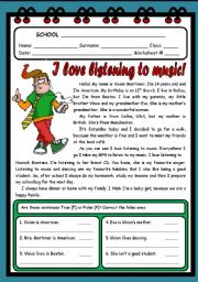 English Worksheet: I LOVE LISTENING TO MUSIC ( 2 PAGES )