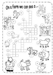 English Worksheet: Farm Animals - B&W